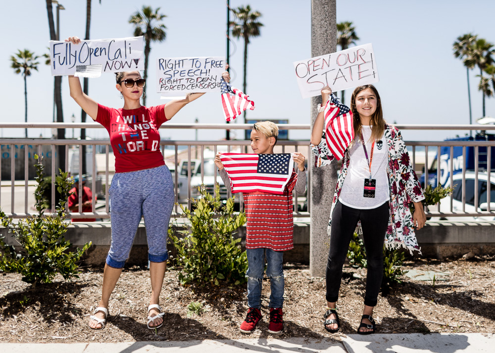 COVID-19 lockdown protest in Huntington Beach, California, USA.